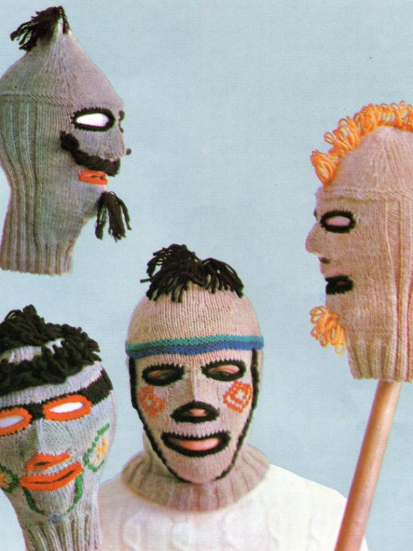 picture of frankly disturbing knit balaclavas