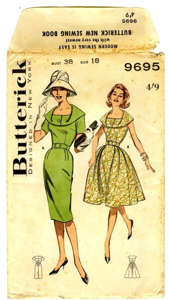 Butterick 9695: Two women, one in a white bucket hat and white gloves, wearing a green solid sheath dress with unusual collar and sleeves, the other in a green scribble print sleeveless version.